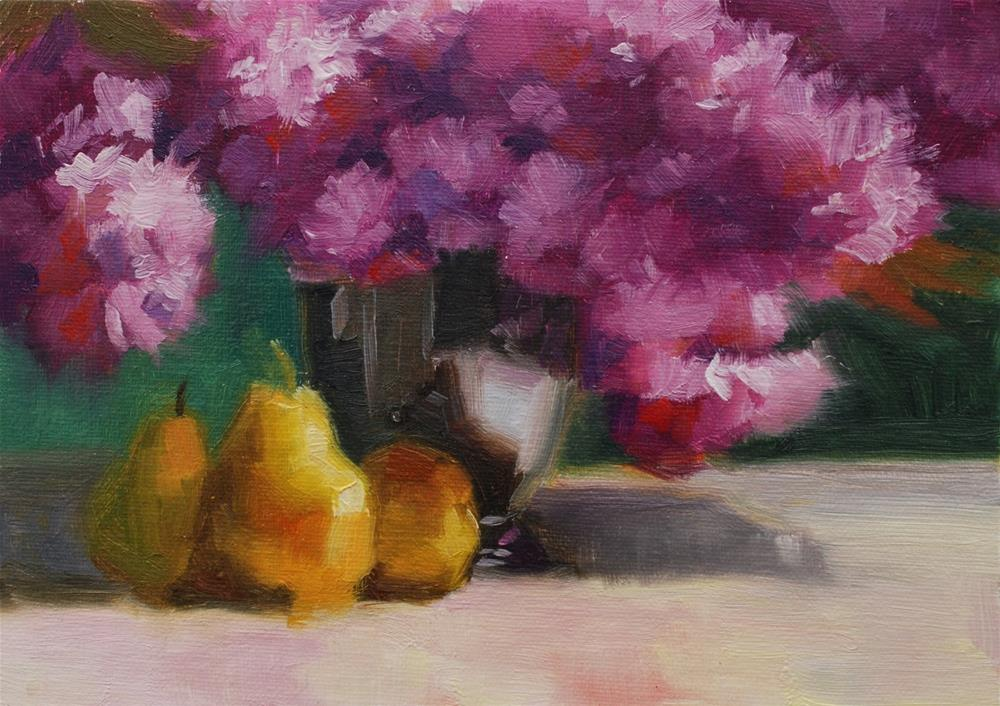 """No. 611 Cherry Blossoms with Pears"" original fine art by Susan McManamen"