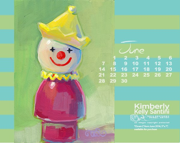 """June 2015 Desktop Calendar"" original fine art by Kimberly Santini"