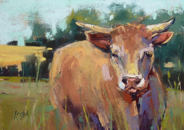 """The Cows Next Door ....Impressions of France part 5"" original fine art by Karen Margulis"