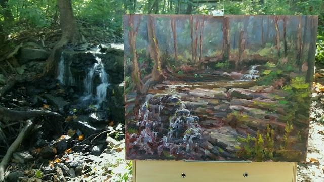 """Waterfall in Sanctuary"" original fine art by Tammie Dickerson"