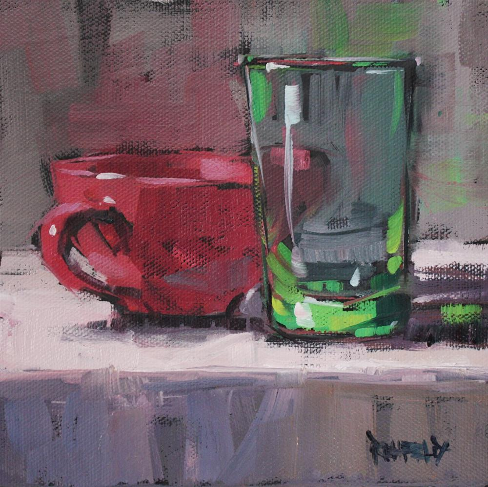 """Retro Cups"" original fine art by Cathleen Rehfeld"