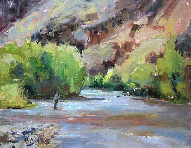 """Fall Fishing II - more flyfishing and  color on the Grand Ronde river"" original fine art by Mary Maxam"