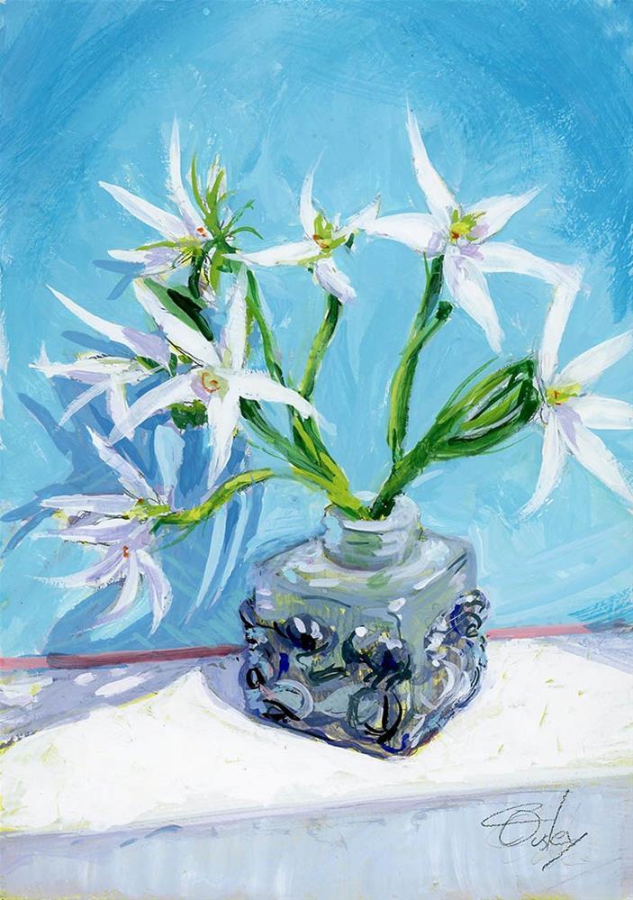 """Little White Flowers"" original fine art by Chris Ousley"