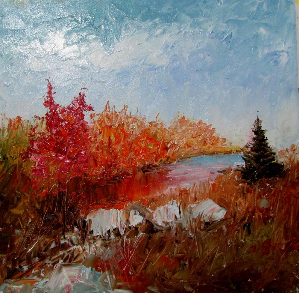 """8 x 8 inch oil Moser River"" original fine art by Linda Yurgensen"