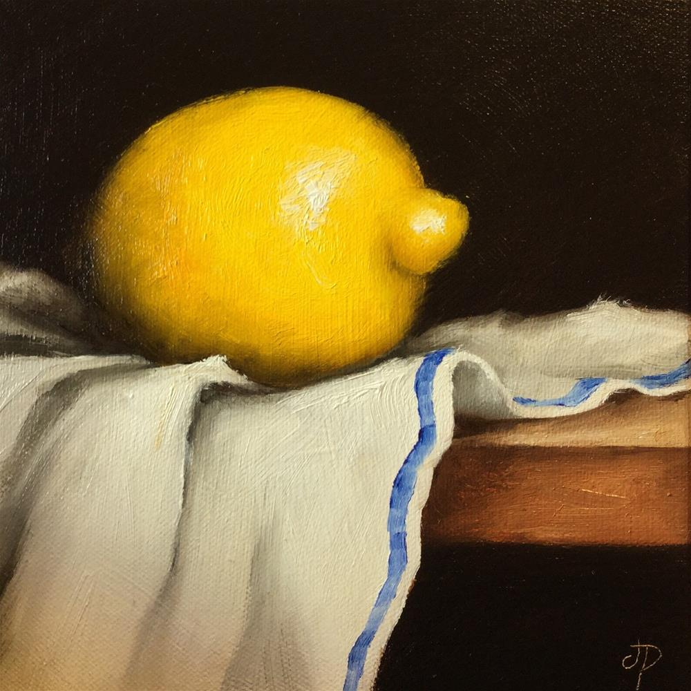"""Lemon on cloth"" original fine art by Jane Palmer"