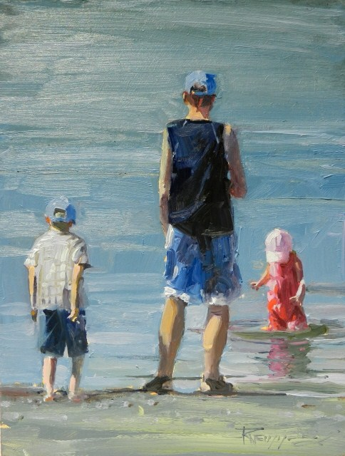 """Sunday at the Beach figurative, oil painting by Robin Weiss"" original fine art by Robin Weiss"