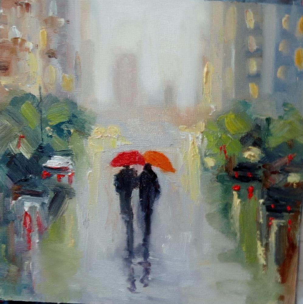 """Together in the summer rain"" original fine art by Astrid Buchhammer"