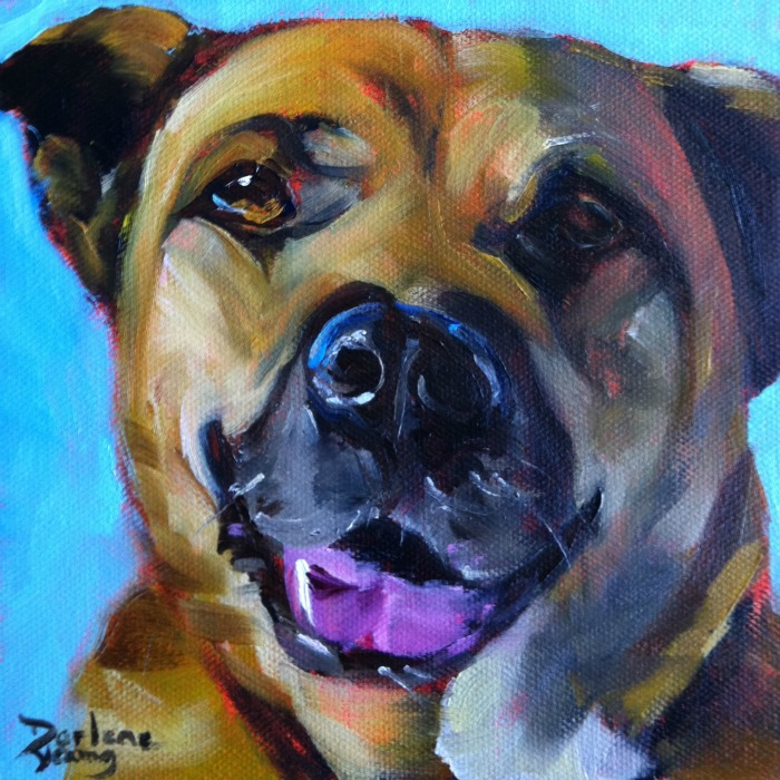 """The Most Loved Dog in The World, oil on canvas board, 6x6"" original fine art by Darlene Young"