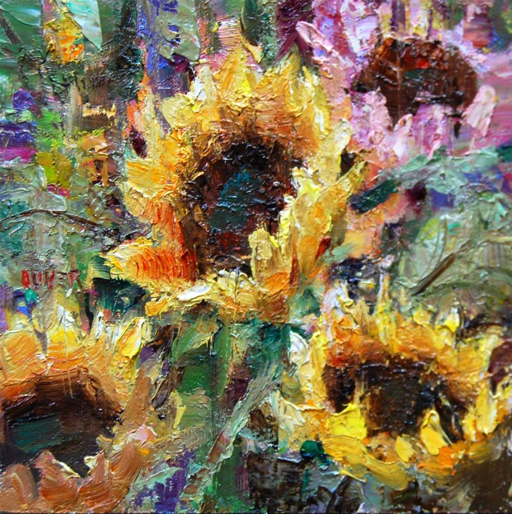 """""""The Pink Sunflower and Techniques"""" original fine art by Julie Ford Oliver"""