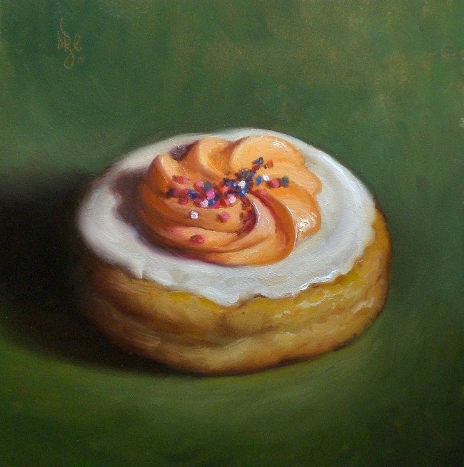 """Orange Cream Donut"" original fine art by Debra Becks Cooper"