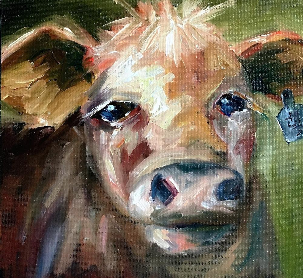 """Sally Mae cow painting by Alabama Artist Angela Sullivan"" original fine art by Angela Sullivan"