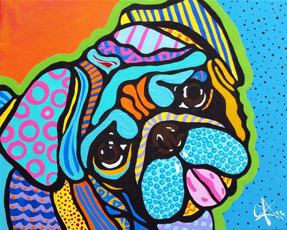 """Pooped Pup Pug Boxer Bulldog Bull American Staffordshire Terrier Bullmastiff Chinese Shar Pei Rottweiler Saint Bernard Design Fun"" original fine art by Jackie Carpenter"