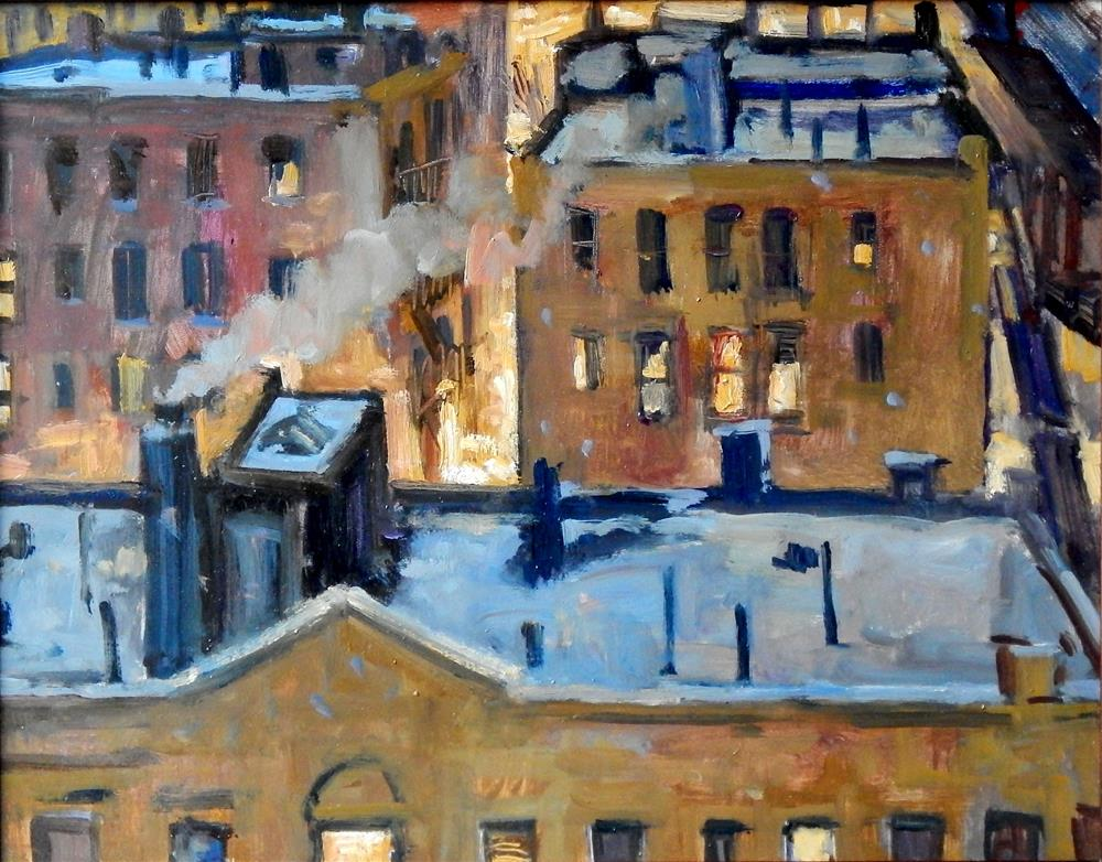 """Winter Night Rooftops, New York City"" original fine art by Thor Wickstrom"