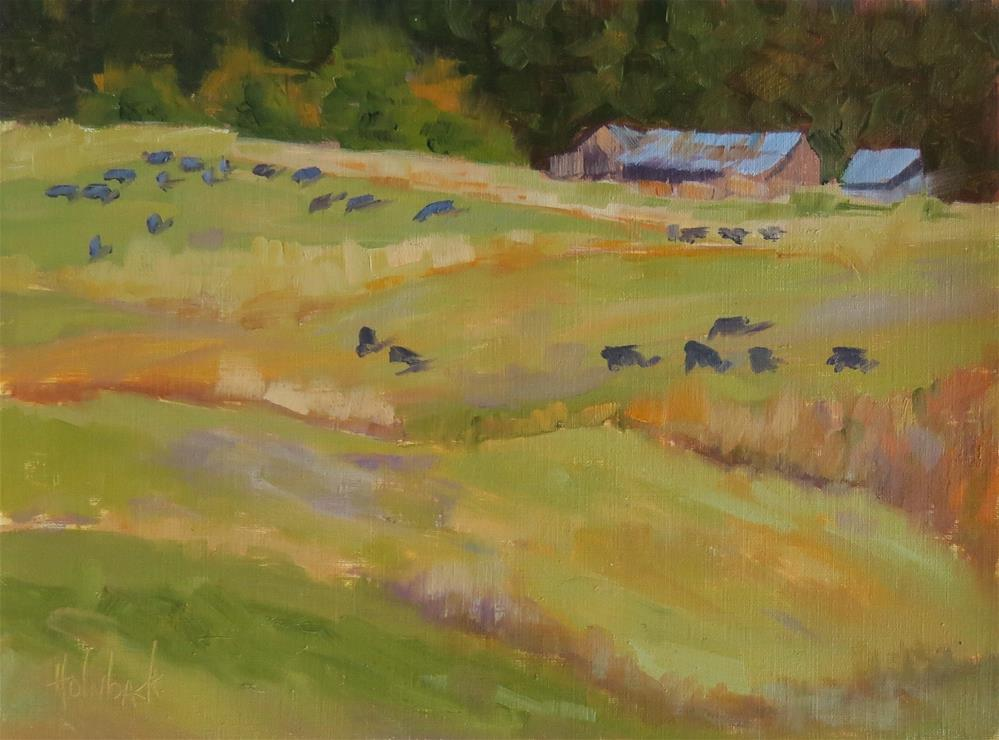"""Grazing Cows"" original fine art by Pam Holnback"