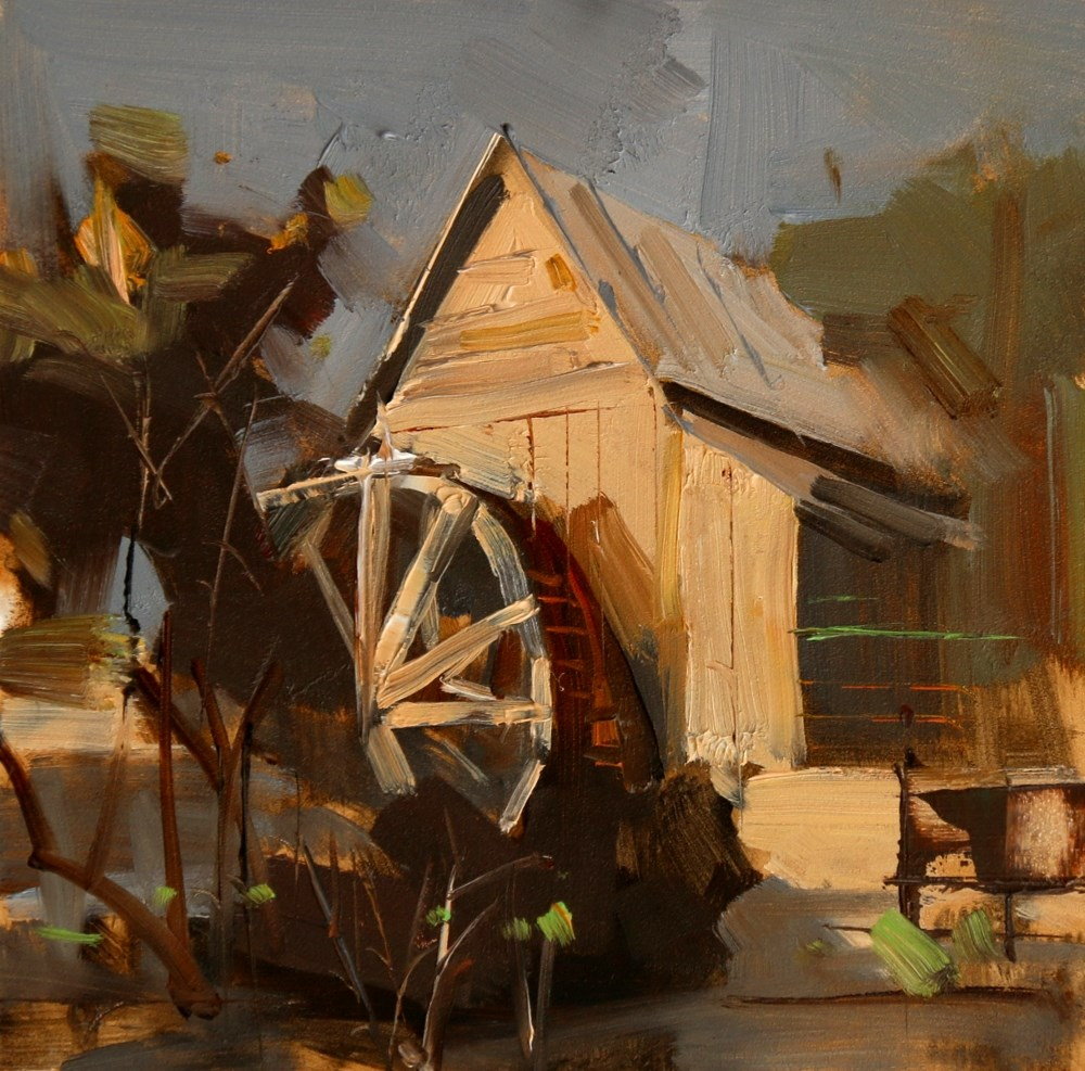 """Anderson Mill Water Wheel"" original fine art by Qiang Huang"