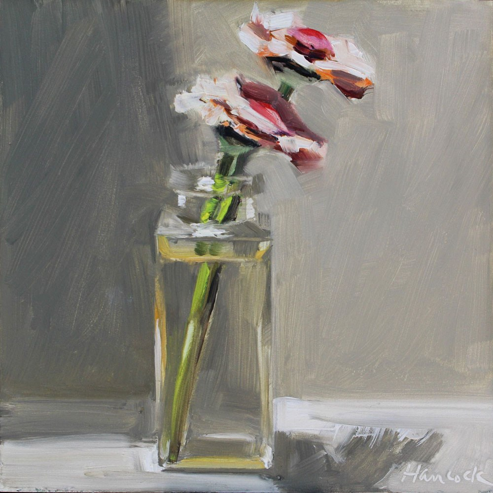 """Small Vase of Zinnias Leaning Right"" original fine art by Gretchen Hancock"