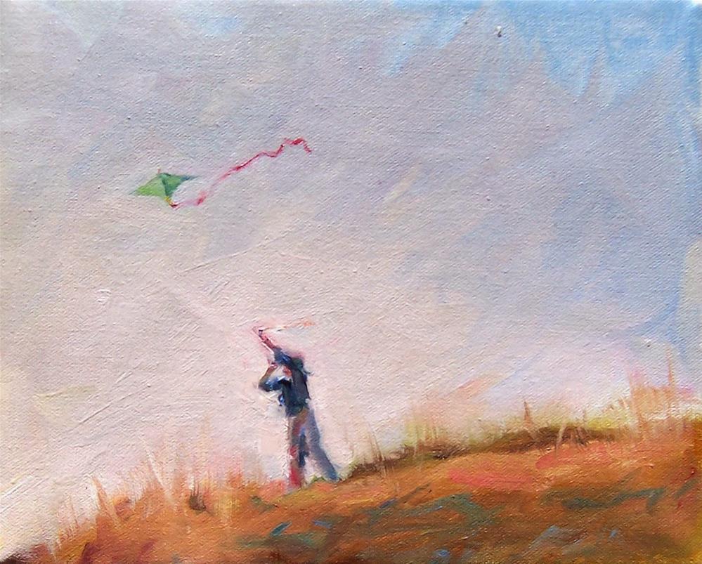 """Windy Day,figure,oil on canvas,8x10,priceNFS"" original fine art by Joy Olney"