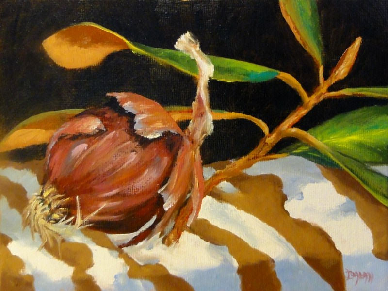"""Magnolia With Red Onion Stripes Challenge"" original fine art by Dalan Wells"