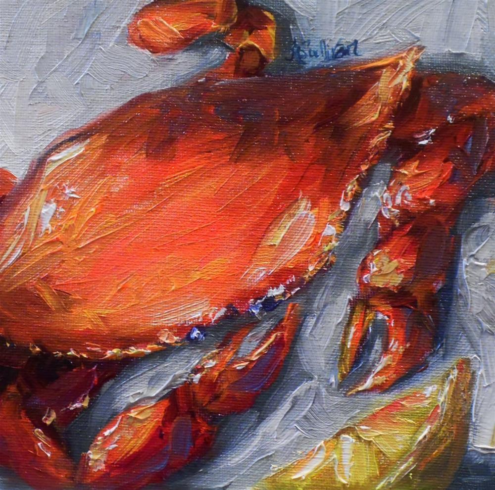 """With Lemon crab painting by Alabama Artist Angela Sullivan"" original fine art by Angela Sullivan"