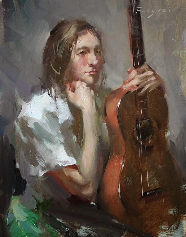 """""""Guitar Girl 2"""" original fine art by Fongwei Liu"""