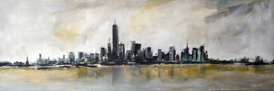 """1952 New York Panorama"" original fine art by Dietmar Stiller"