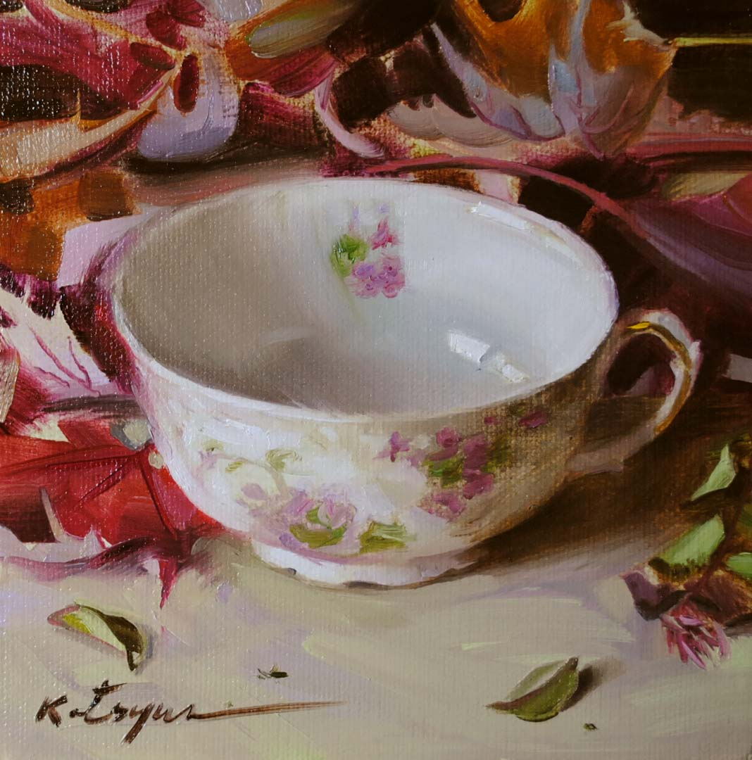 """Teacup & Autumn Leaves"" original fine art by Elena Katsyura"
