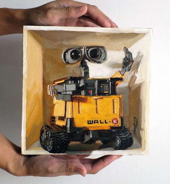 """Wall-E in a box"" original fine art by Haze Long"