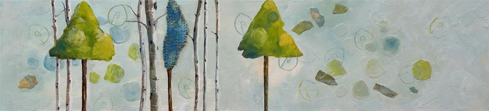 """Tree Line mixed media on cradled panel"" original fine art by Saundra Lane Galloway"