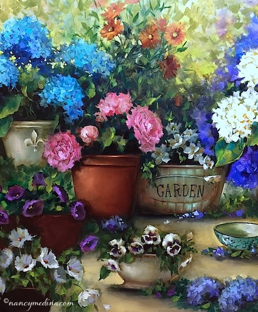 """Spring Rain Container Garden"" original fine art by Nancy Medina"