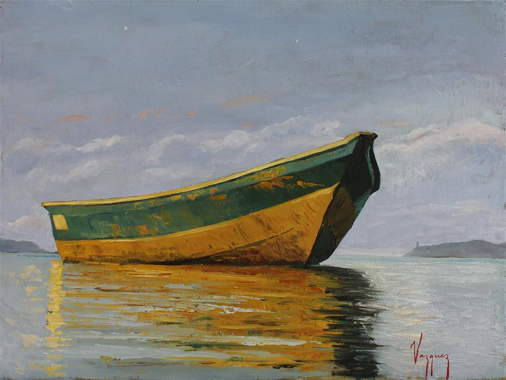 """Yellow and green boat"" original fine art by Marco Vazquez"