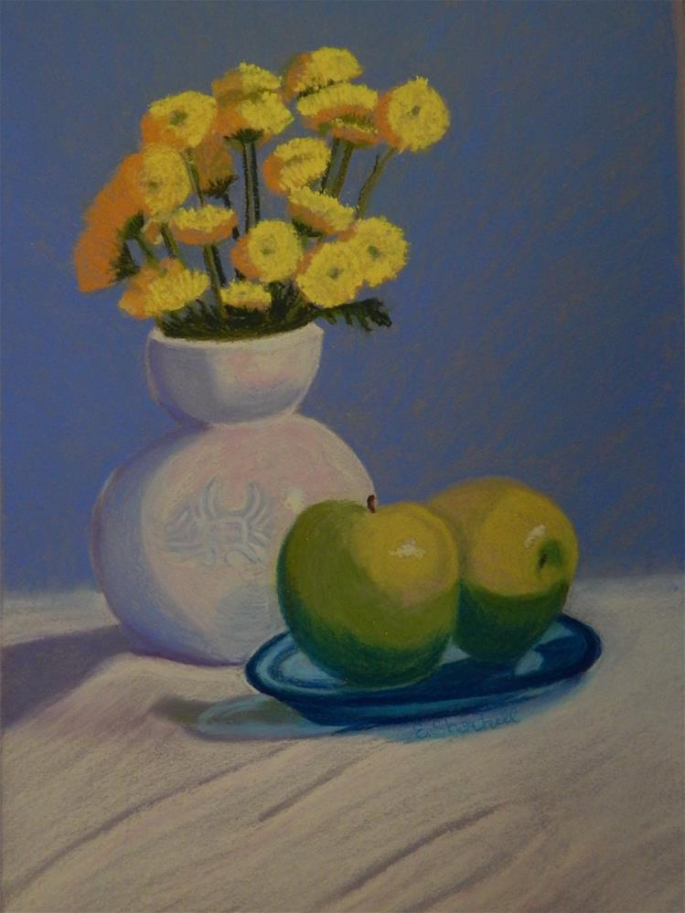 """Still Life with Green Apples"" original fine art by Elaine Shortall"