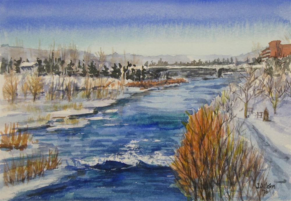 """Clark Fork River, Missoula Montana"" original fine art by Jane Albin"