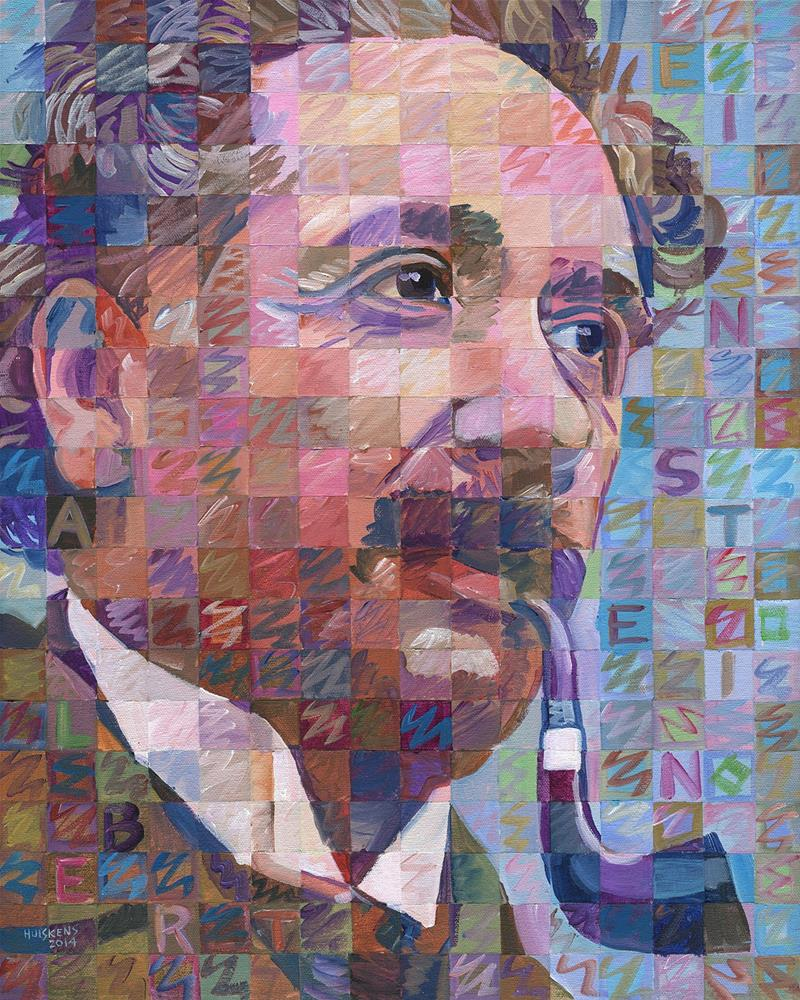 """Albert Einstein With Pipe"" original fine art by Randal Huiskens"