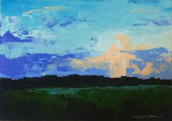 """Minervaville, Twilight"" original fine art by Mary Gilkerson"