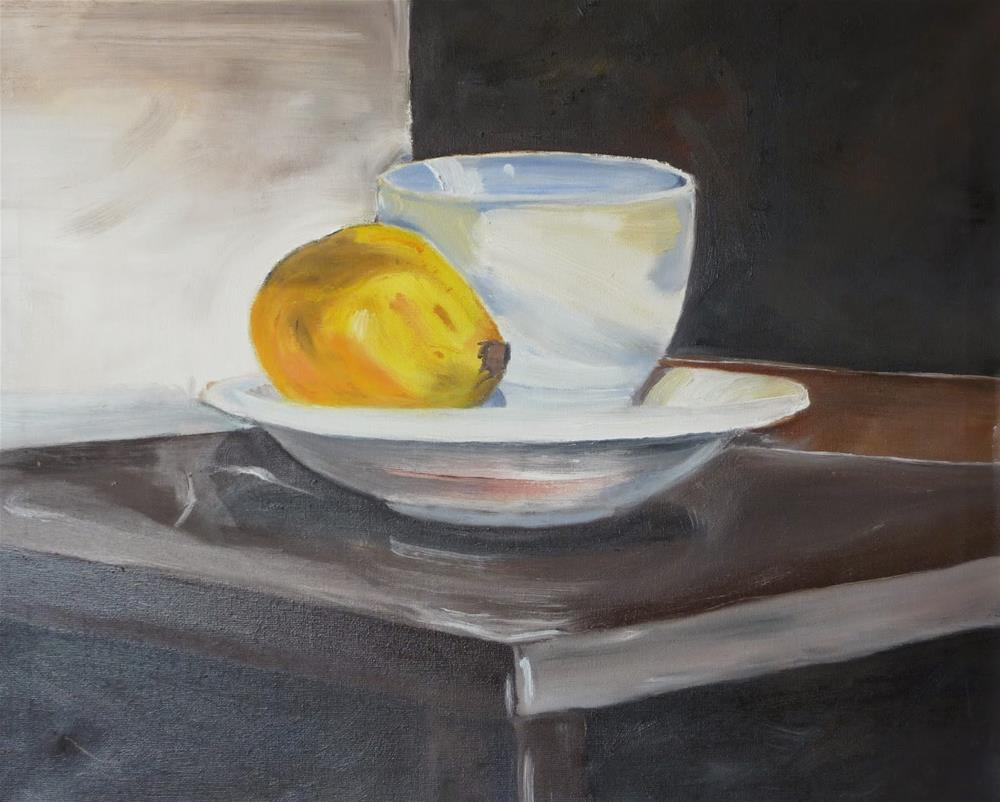 """""""White Cup and Quince"""" original fine art by Peter Wellington"""