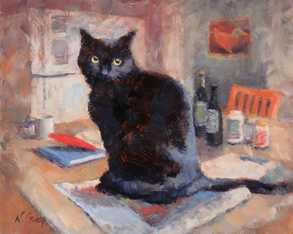"""Cat on the Counter"" original fine art by Naomi Gray"