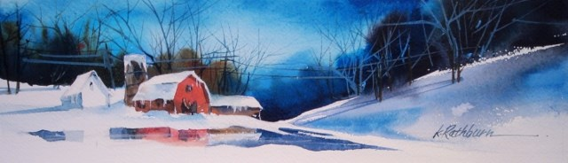 """Just a Snow Barn"" original fine art by Kathy Los-Rathburn"
