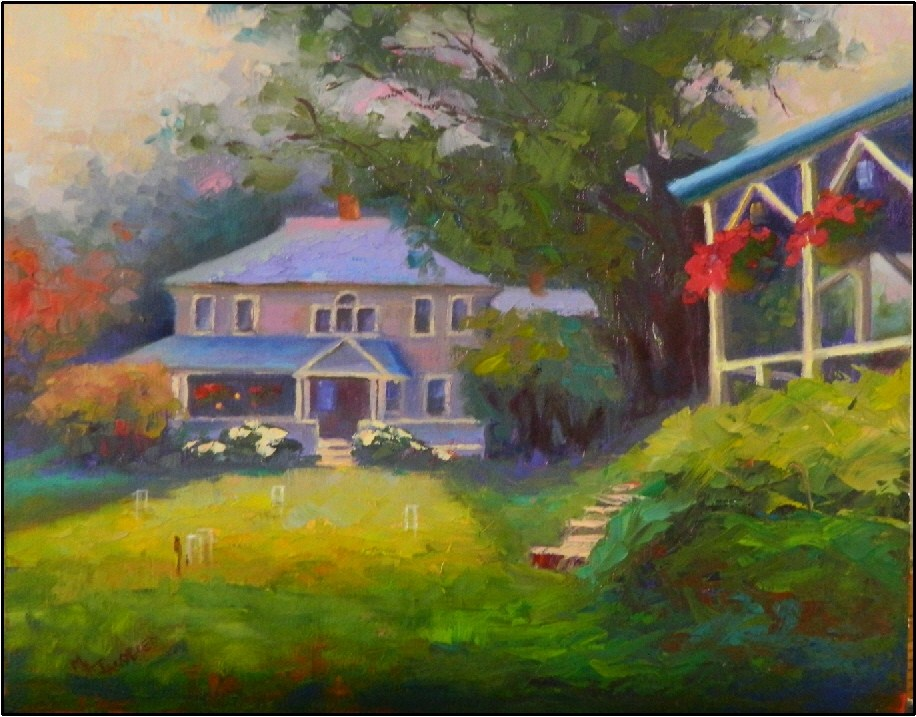 """Croquet Lawn at The Claremont, 11x14, oil on linen- Claremont Hotel, Southwest Harbor Maine, vacat"" original fine art by Maryanne Jacobsen"