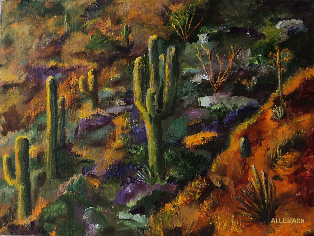 """sunset hillside cactus"" original fine art by Jo Allebach"