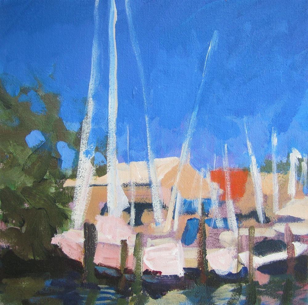 """Boats in Marina"" original fine art by Christine Parker"