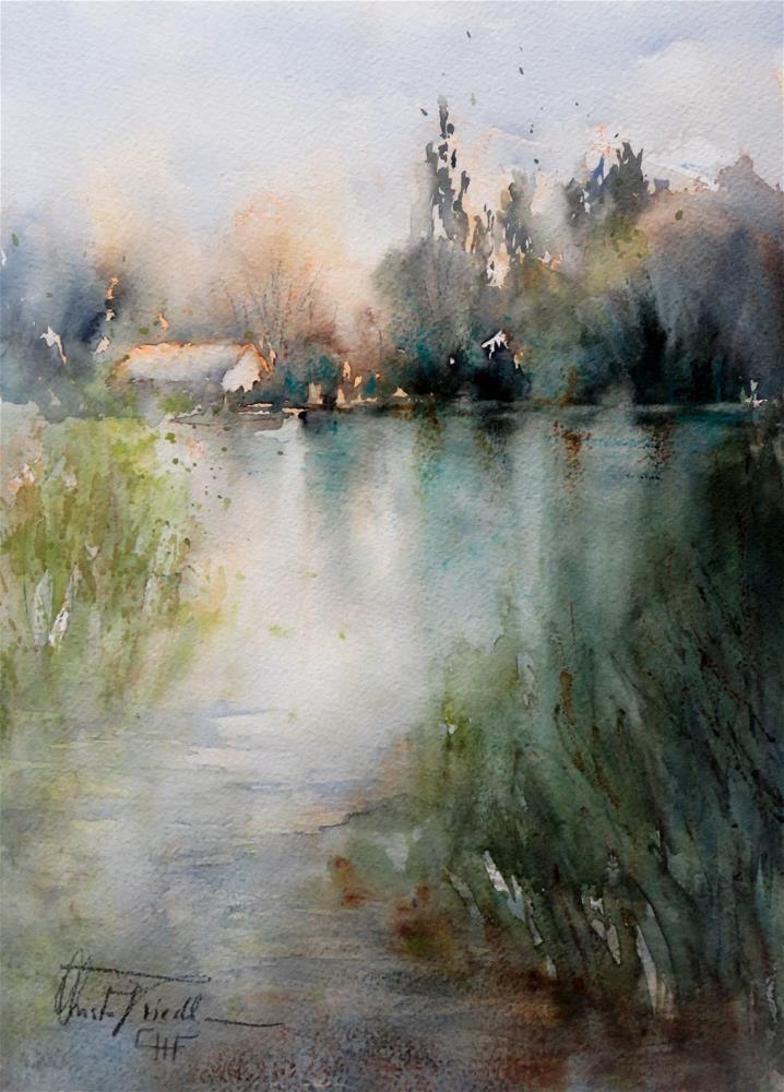 """""""Mühlwasser - old Danube in Vienna"""" original fine art by Christa Friedl"""