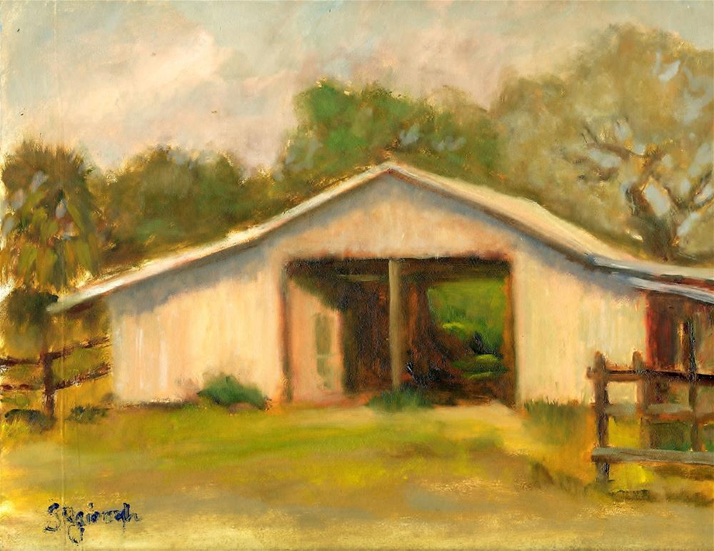 """The Horse Barn"" original fine art by Sharon Yarbrough"
