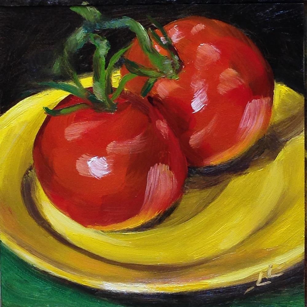 """Tomatoes on a Yellow Plate"" original fine art by Linda Lowery"