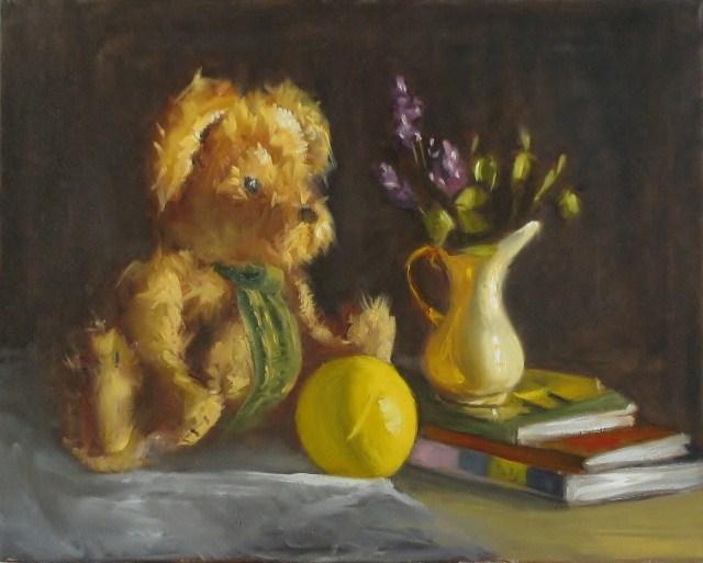 """Teddy Bear Still Life"" original fine art by Lori Jacobs - Farist"