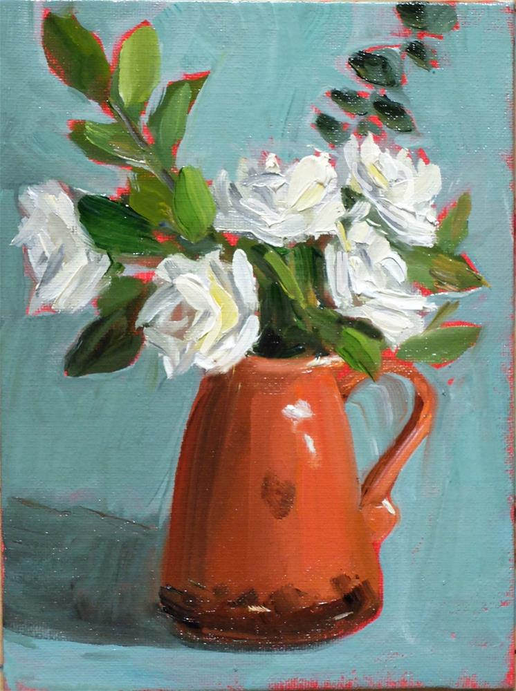 """Terracotta and Roses"" original fine art by Martha Lever"