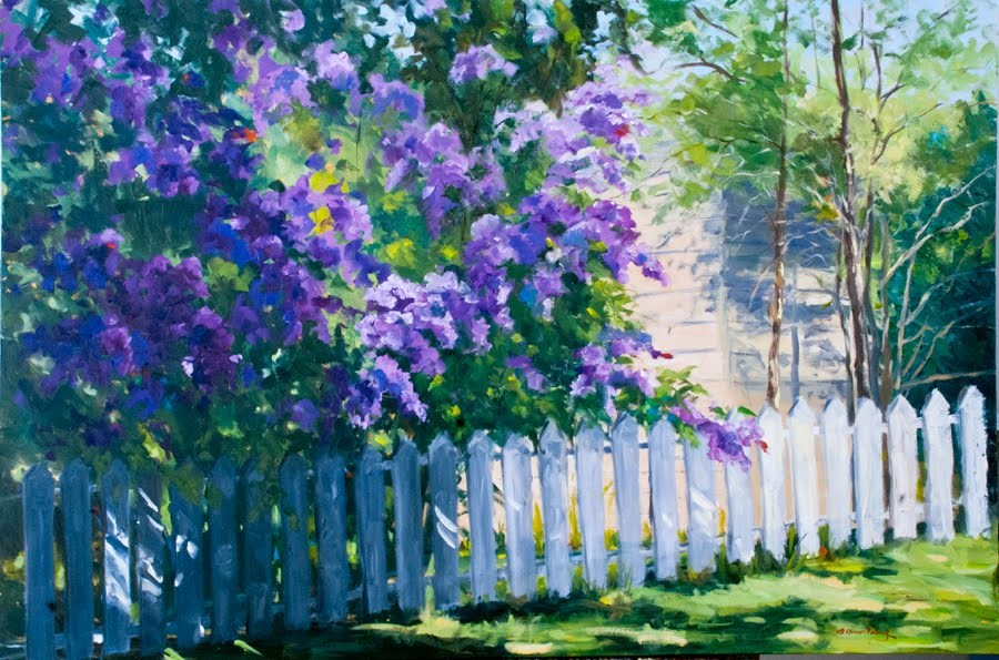 """KM2804 Springtime Lilacs (40x60 original oil, floral)"" original fine art by Kit Hevron Mahoney"