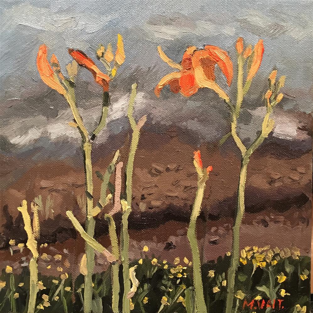 """Orange flowers"" original fine art by Milda Vaitiekunaite"