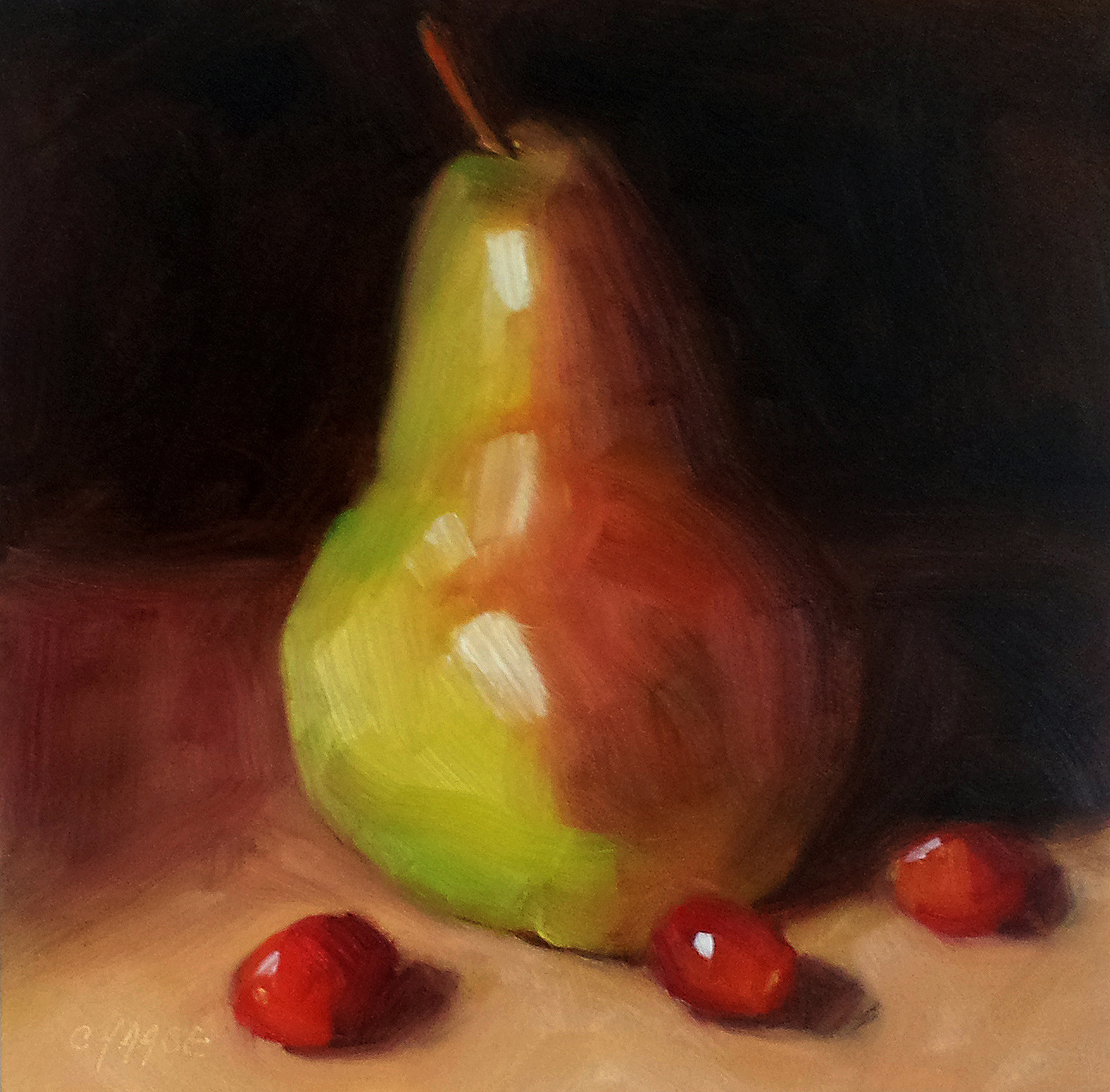 """Pear and Cranberries"" original fine art by Cindy Haase"