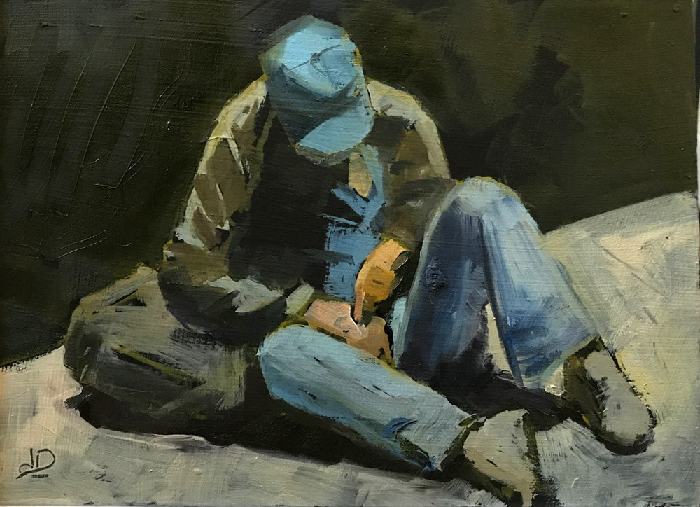 """Homeless Man with Blue Hat"" original fine art by Donna Dumont"