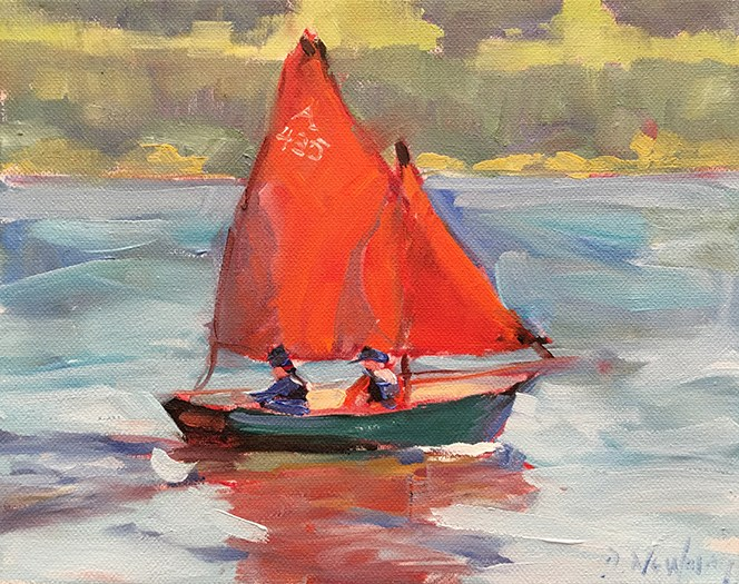 """Red Sails"" original fine art by Deborah Newman"